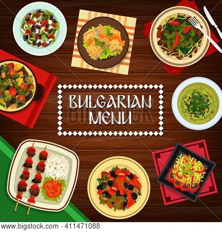 Bulgarian Cuisine Vector Vegetable Kebapche, Cabbage Soup And Stuffed Leaves Sarmi. Grilled Meat And