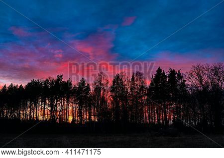 Colorful Sunset Sky Behind Silhouette Of Dark Forest