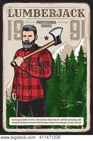 Lumberjack Works Service Retro Poster. Bearded Woodcutter, Hipster Man Character In Checkered Plaid
