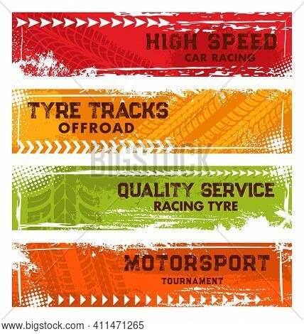 Car Racing, Off Road Tracks And Motorsport Tournament Banners. Automobile Tire Dirty Traces, Wheel P