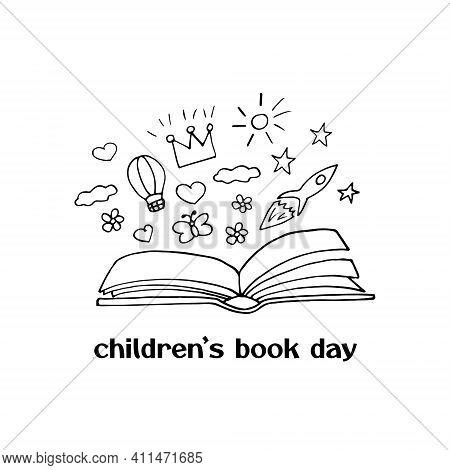 Children Book Day Template Card, Poster, Flyer, Banner. Open Book, Rocket, Balloon, Crown, Heart, Su