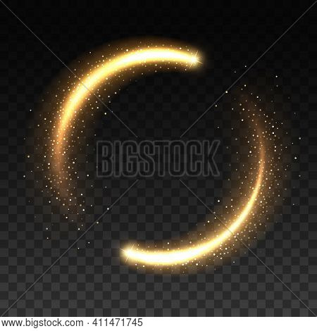 Gold Light Circle With Sparkles, Vector Magic Glow 3d Effect. Realistic Golden Shiny Ring Or Swirl,