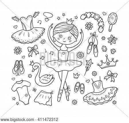 Little Ballerina And A Set Of Ballet Accessories. Hand Drawn Tutu, Pointes, Ballet Dress, Swan, Crow
