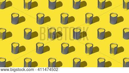 Paint Can With Illuminating Yellow Paint, Aligned Symmetrically In A Pattern, Isolated On Yellow Bac
