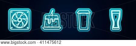 Set Line Computer Cooler, Pudding Custard, Coffee Cup And Glass Beer. Glowing Neon Icon. Vector