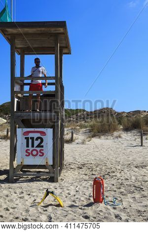 Son Bou, Menorca / Spain - June 22, 2016: A Lifeguard Station Al Son Bou Beach Near Alaior, Menorca,