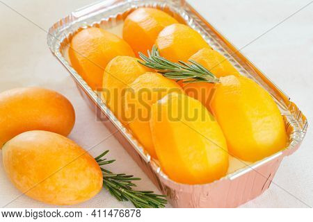 Mayongchid Or Plum Mango Or Marian Plum Cheese Pie Decorated With Rosemary Put On White Table Look S