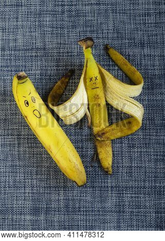 Cheerful Bananas On A White And Blue Background. Bananas In Love. Heterosexual Couple. Family Relati