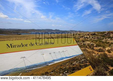 Cape Cavalleria, Menorca / Spain - June 23, 2016: Mirador The Cape Cavalleria Sign, Menorca, Baleari