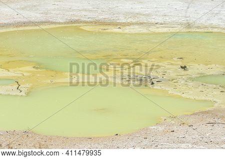 Beautiful turquoise lake called Papa Wera at Wai-O-Tapu geothermal area, New Zealand