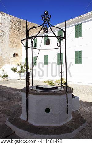 El Toro, Menorca / Spain - June 25, 2016: A Well At Sanctuary's Garden At Mount Toro (el Toro), Es M