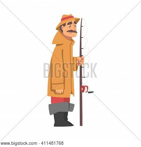 Moustached Grandpa Standing With Fishing Rod Vector Illustration