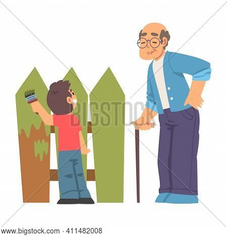 Grandpa Standing With Cane And Grandson Helping Painting Fencing Vector Illustration