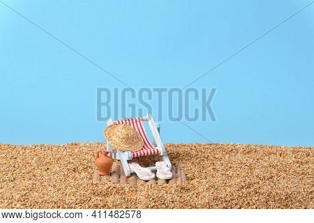Conceptual Photo About A Holiday On A Beach On A Beautiful Sunny Day.