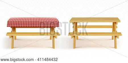 Wooden Picnic Table With Benches And Red Plaid Tablecloth Isolated On Transparent Background. Vector