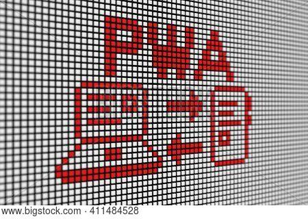 Pwa Text Scoreboard Blurred Background 3d Illustration