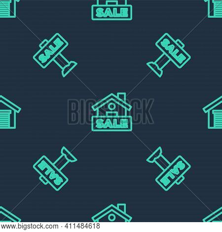 Set Line Hanging Sign With Sale, And Garage On Seamless Pattern. Vector