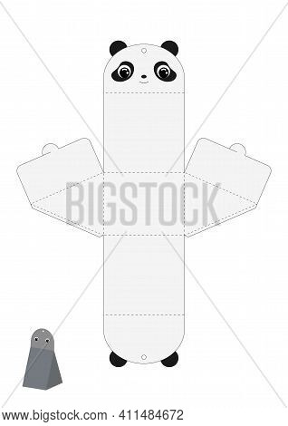Party Favor Box Panda Design For Sweets, Candies, Presents. Packaging Die Cut Template, Great For An