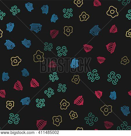 Set Line Piece Of Cake, Jelly Candy, Scrambled Eggs And Pudding Custard On Seamless Pattern. Vector