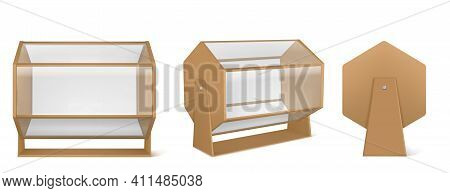 Lottery Machine, Wooden Raffle Drum With Transparent Glass Isolated On White Background. Vector Real