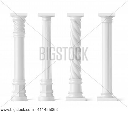 Antique Pillars Isolated On White Background. Ancient Classic Stone Columns Of Roman Or Greece Archi