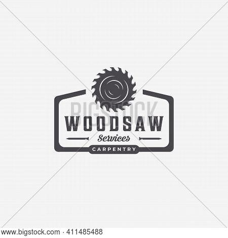 Flat Emblem Of Carpenter Carpentry Vector Vintage Logo, Minimal Illustration Design Of Wood Working