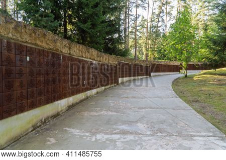 Katyn, Smolenskaya Oblast, Russia - 08 22 2020: Plaques With The Names Of The Victims Of The Katyn M