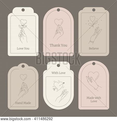 Set Of Tags With Line Hands, Love Signs And Text. Gentle Color Labels For Hand Made Product. Made Wi