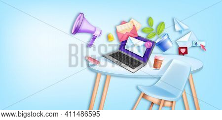 Email Business Online Marketing Vector Background, Office Workplace, Furniture Laptop Screen, Megaph