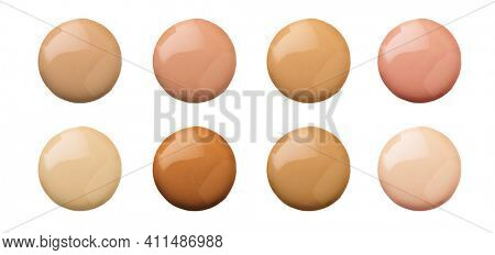 Foundation face make-up samples. Set of cosmetic liquid foundation or cream in different colour smudge smear strokes. Make up smears isolated on a white background. Foundation colors palette.