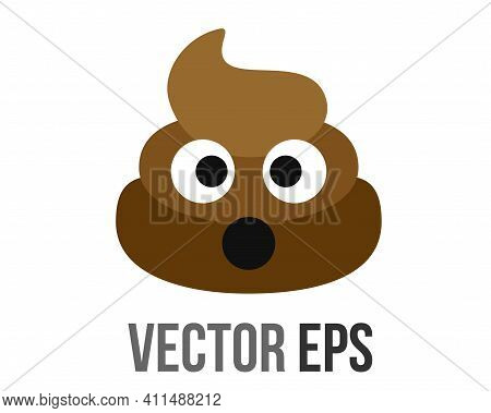 The Isolated Vector Brown Sicky Dung Icon With Eyes And Mouth