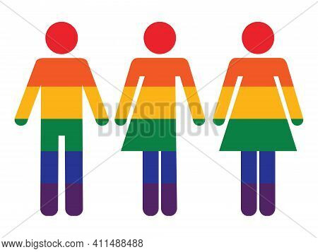 Lgbtq+ Icon. Three Rainbow Colored Gender Icons,illustrating The Lgbtq+ Community