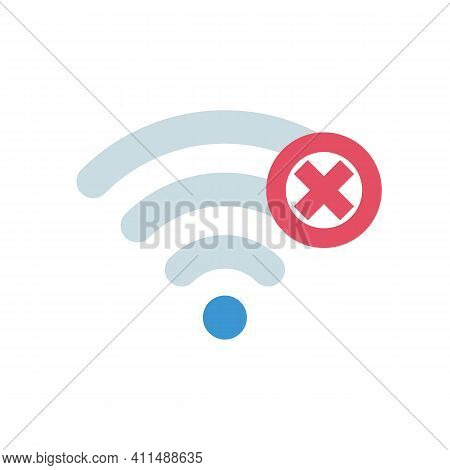 No Connection. Wi-fi Sign With Off Signal. No Internet Symbol. Vector Illustration Flat Design. Isol