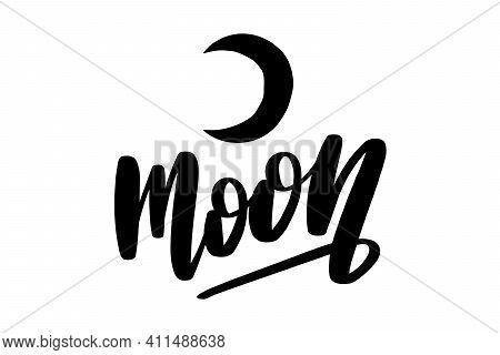 Moon. Black Ink Handwriting. Astrology Natal Birth Chart Symbol.