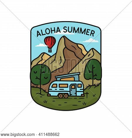 Aloha Summer Logo, Camping Adventure Emblem Design With Mountains, Rv Trailer And Trees. Unusual Lin