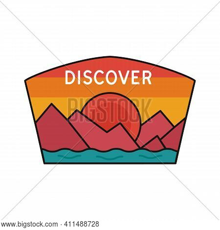 Vintage Discover Logo, Adventure Emblem Design With Mountains And River. Unusual Line Art Retro Styl
