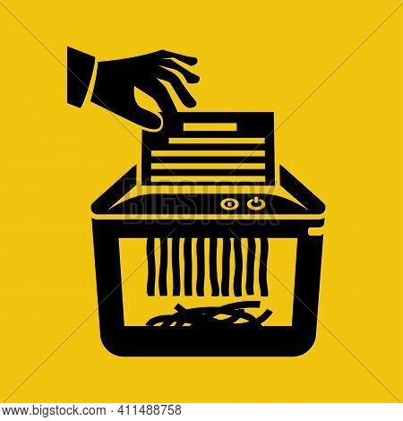 Document Top Secret In Hand For Destruction. Shredder Machine. Paper Shredder. Black Silhouette, Gly