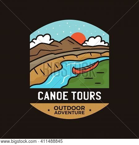 Vintage Canoe Tours Logo, Camping Adventure Emblem Design With Mountains, Canoe Boat And River. Unus