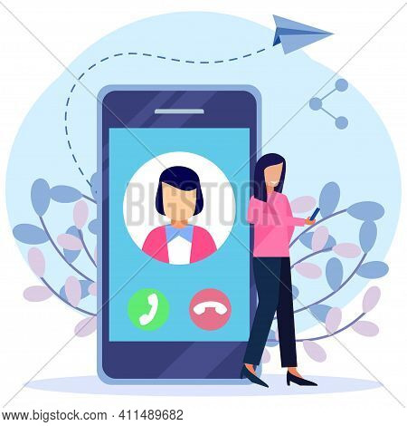 Modern Style Vector Illustration. Contact The Person On The Communication Device. Contact List Of Pe