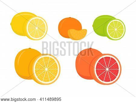 Set Of Citrus Lemon, Mandarin, Lime, Orange, Grapefruit - Whole, Cut Half. Fresh Sour Citrus Fruit W