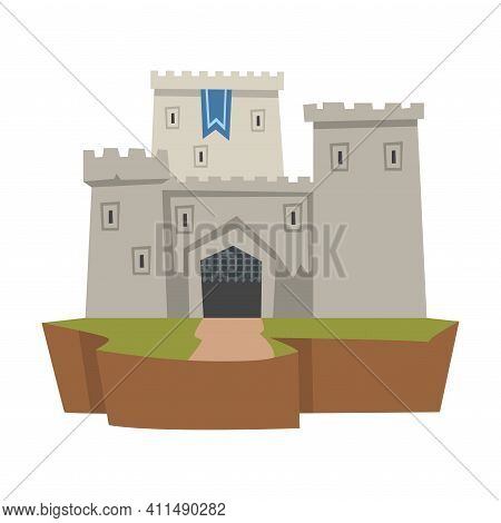 Stone Castle Or Fortress As Ancient Architecture From Middle Ages Vector Illustration
