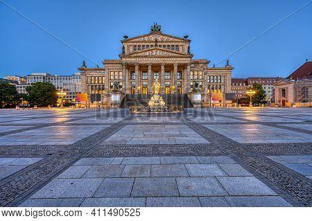 The Beautiful Gendarmenmarkt In Berlin At Dawn With No People