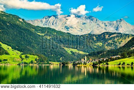 Reschen Am See Or Resia, A Village On Lake Reschen In South Tyrol, Italian Alps