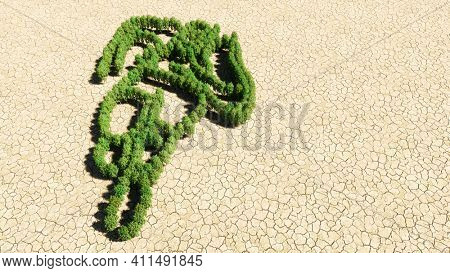 Concept or conceptual group of green forest tree on dry ground background, sign of colorful runner. A 3d illustration metaphor for athlete, sprinter, marathon, competition, exercise and  health