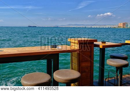 Thessaloniki,  Greece - August 24, 2018 : An Outdoor Bar Lounge With A Beautiful View Over The Ocean