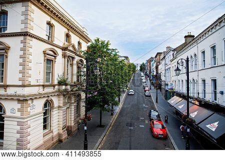 Derry, Northern Ireland - July 7, 2019 :derry, North Ireland. Aerial View Of Derry Londonderry City
