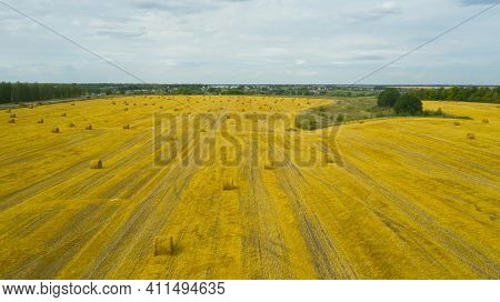 Top View Of Golden Agricultural Field With Bales Of Hay. Bales Of Wheat After Harvesting On The Fiel