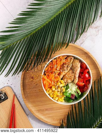 Vegan Poke Bowl Raw Salad, Heura Soy Protein, Vegan Chicken With Variety Vegetables, Served In Bowl