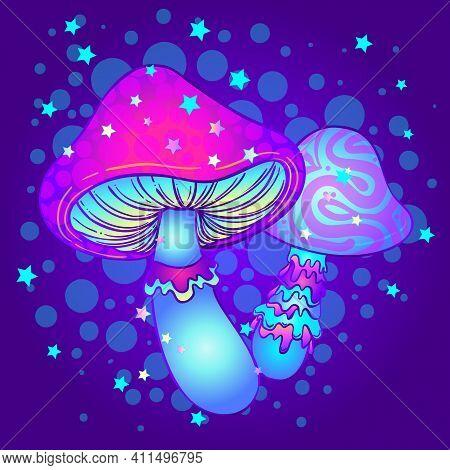 Magic Mushrooms. Psychedelic Hallucination. Vibrant Vector Illustration. 60s Hippie Colorful Art. De