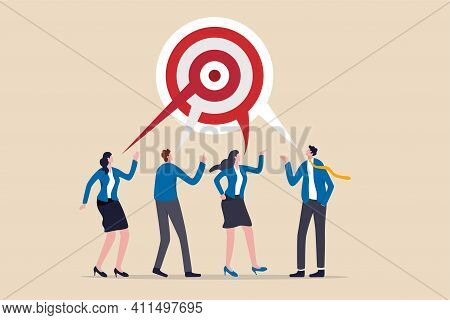 Teamwork Aiming On The Same Target, Collaboration To Succeed In The Same Goal, Partnership Strategy
